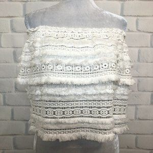 NWT Alexis Valentin White Lace Crop Top